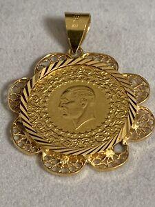 Goldmünze Mit Goldanhänger 22K 916 Echtgold Atatürk Yarim Altin
