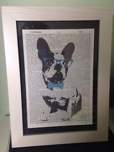 French Bulldog Vintage Dictionary Page Print Picture Quirky Animal Framed White