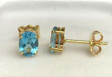 14k Solid Yellow Gold Solitair/ One Stone Stud Earrings, Natural Blue Topaz 2TCW