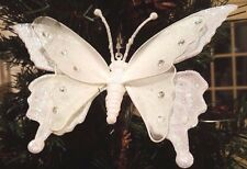 2x Clip-on Iridescent Glitter Butterfly Ornaments w/White Sheer Mesh Wings