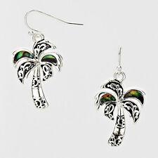 "Palm Tree Earrings Beach SeaLife 1.5"" Drop SILVER ABALONE SHELL Surf Jewelry"