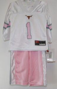 NEW Infant Toddler NIKE Texas Longhorns NCAA 2 piece White Pink Jersey Pants Set