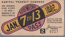 Trolly/Bus pass capital Transit Wash. DC--1934-----59