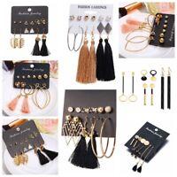 6Pairs Bohemian Geometric Tassel Drop Dangle Earrings Hook Hoop Ear Stud Jewelry