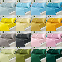 4 Pce SATIN Polyester Soft Silky Flat Fitted Sheet Pillowcases Set QUEEN