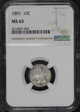 1891 Seated Liberty Dime NGC MS-63