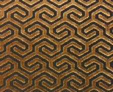 """CARNEGIE MOROCCO SPICE BROWN GEOMETRIC VELVET UPHOLSTERY FABRIC BY THE YARD 51""""W"""