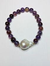 Handmade Phantom Amethyst and Baroque Pearl Stretch Bracelet