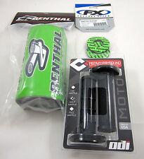 """Renthal Green 1-1/8"""" Fat Bar Pad Grip Donuts BLK ODI Ruffian MX Grips Set KX KXF"""