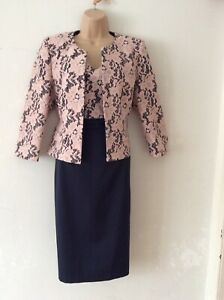 PHASE EIGHT size 14 Beautiful Navy With Pink Lace Occasion Dress And Jacket