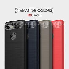 Google Pixel 4 4xl 3a 3aXL 3 3XL 2 2XL Carbon Fibre Brushed Gel Tough Case Cover