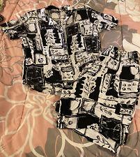 Women's Vintage Teddi Black & White Top Shirt & Shorts Set Outfit Xl