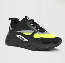 DIOR SHOES B22 CALFSKIN TRAINER BLACK/YELLOW SIZE 10