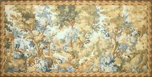 Aubusson Tapestry Handwoven French Gobelins Weave Verdure Wall Hanging 157x78 in