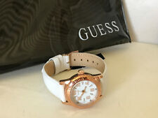 NEW ARRIVAL! GUESS ROSE GOLD CASE WHITE LEATHER STRAP BRACELET WATCH $95 W0545L1
