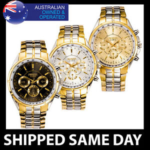 ROSRA CLASSIC MENS DRESS WATCH Silver Gold Military Fashion Water Resistant 84