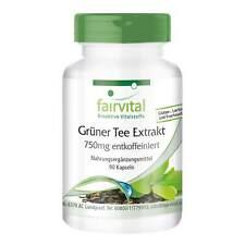 Grüner Tee Extrakt 750 mg entkoffeiniert 90 Kapseln hochdosiert VEGAN, fairvital
