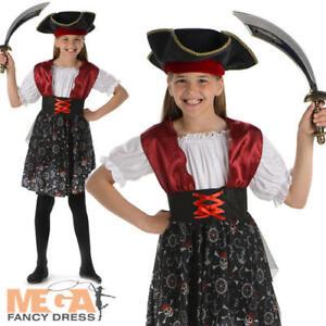 Pirate Skull Beauty Girls Fancy Dress Kids Childs Halloween Childrens Costume