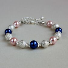 Blush pink midnight blue pearls silver beaded wedding bridesmaid bracelet