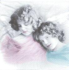 2 Serviettes en papier Anges colorés Paper Napkins Colored Angels Sagen Vintage