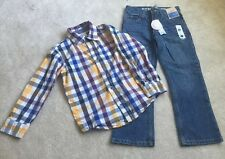Lot Of 2 Gymboree Strait Leg Jeans Size 5/Check Button Down Shirt Size 5T