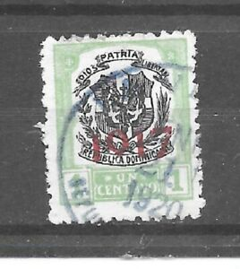 Dominican Republic Stamp- Scott # 214/A25-1c-Canc/H-1917-Overprinted-NG