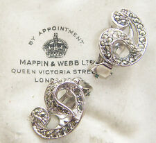 SIGNED SPHINX VINTAGE COSTUME JEWELLERY REAL MARCASITE CLIP ON EARRINGS