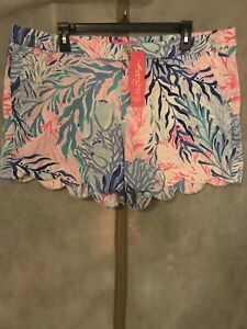 NWT Lilly Pulitzer Buttercup Stretch Short Kaleidoscope Coral 16 Free Shipping