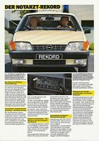 Opel Rekord Notarzt Prospekt 1985 7/85 brochure Autoprospekt prospectus broschyr