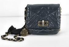 LANVIN Mini Pop Happy Bag Quilted Navy Leather Crossbody Chain Shoulder Handbag