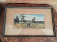 Antique Landscape Of Mountain Range Painting in Wood Frame