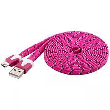 2m goobay usb 2.0 mini-b handy datenkabel ladekabel textilmantel kabel pink