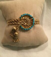 14K Gold Turquoise Double Rope Bracelet, Heavy 38.8 grams