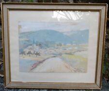 Tableau ancien Dessin Aquarelle BENNECOURT Yvelines vintage Seine & Oise