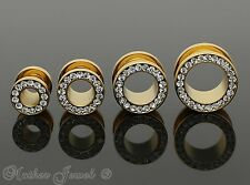 SIMULATED DIAMOND 14K YELLOW GOLD IP SCREW FLESH TUNNEL PLUG SPACER EARLET