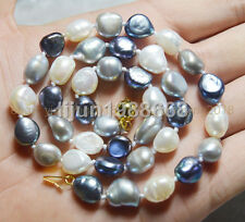 Beautiful 9-10mm Natural Baroque Multi-colored freshwater pearl necklace 18""