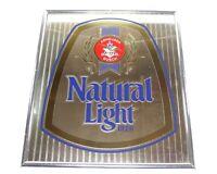 Natural Light Beer Bar Mirror Man Cave Pub Sign 19x22 Anheuser Busch 1996