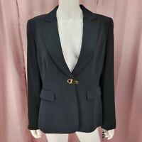 Tahari Women's Navy Blue Long Sleeve Blazer Jacket Size 12 NWT