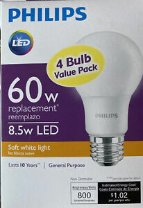 4 new Philips 60W A19 non-dimmable LED softwhite Bulbs 8.5W soft white light 60
