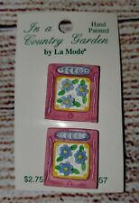 *+New Old Stock La Mode Country Garden Vtg Ceramic 2 Flower Seed Pack Buttons+*