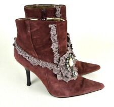 Hale Bob Vintage Heeled Ankle Boots 6.5M Suede Victorian Lace Pointy Toe #1008