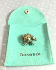 Tiffany & Co RARE Silver & 18K Gold Blue Sapphire Frog Brooch Pin!