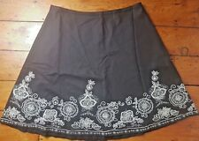 Boden Ladies Brown Floral Flared A Line Fully Lined Skirt Size 20R