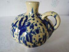 New listing Spongeware Small Pottery Jug - Yelloware Pitcher