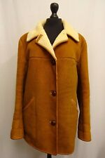 Women's Nurseys Tan Brown Sheepskin Coat Size 18 KK999