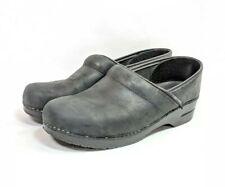 Dansko Clogs Womens Sz 12.5/44 Black Leather Slip On Shoes (sb10ep)