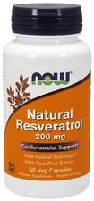 Now Foods Natural Resveratrol, 200 mg, 60 Veg Capsules