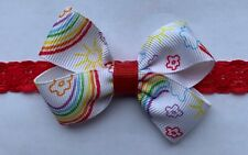 Rainbow Flowers Sunshine Dainty Hair Bow Headband Preemie Newborn Toddler