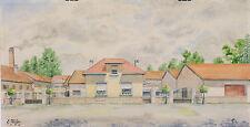 Aquarelle architecture E. Muller 1952