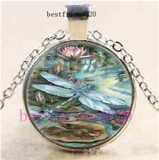 Lotus Dragonfly Photo Cabochon Glass Dome Silver Chain Pendant Necklace#A19